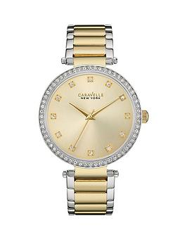 Bulova Bulova Caravelle Gold Sunray Crystal Set Dial Two Tone Stainless  ... Picture