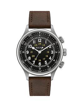 bulova-a-15-pilot-vintage-brown-leather-strap-navy-dial-mens-watch