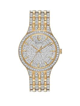Bulova Bulova Crystal Bicolour Stainless Steel Bracelet With Crystal Dial  ... Picture