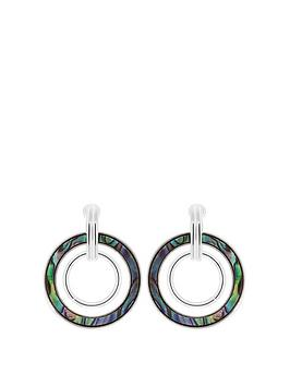Mood Mood Silver Plated Abalone Circle Drop Earrings Picture