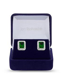 Jon Richard Jon Richard Jon Richard Cubic Zirconia Emerald Stud Earrings Picture