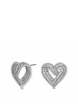 Jon Richard Jon Richard Jon Richard Cubic Zirconia Crystal Heart Stud  ... Picture