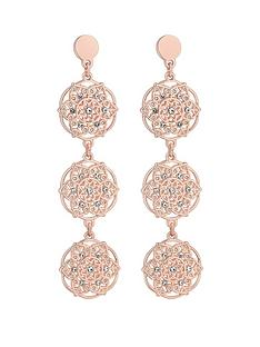 mood-mood-rose-gold-plated-filigree-tripple-drop-earrings