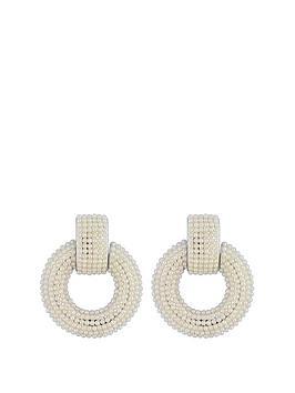 Mood Mood Mood Silver Plated Pearl Door Knocker Earrings Picture