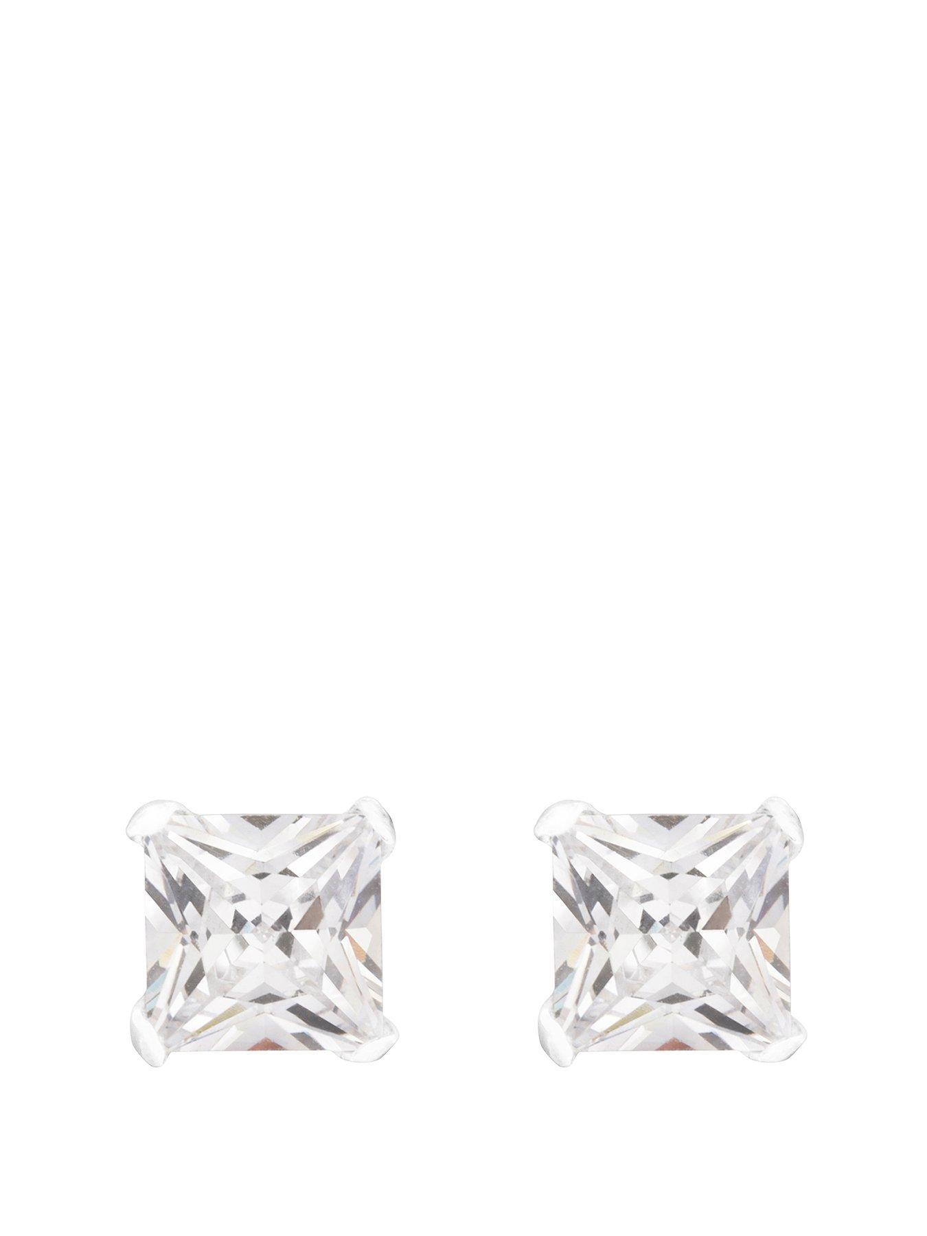 Sterling Silver 10x8 CZ Stud Earrings