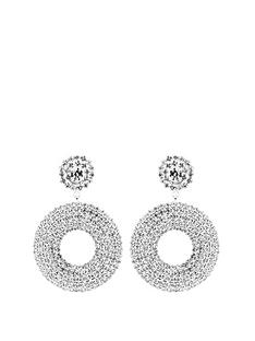 mood-silver-plated-pave-double-circle-drop-earrings