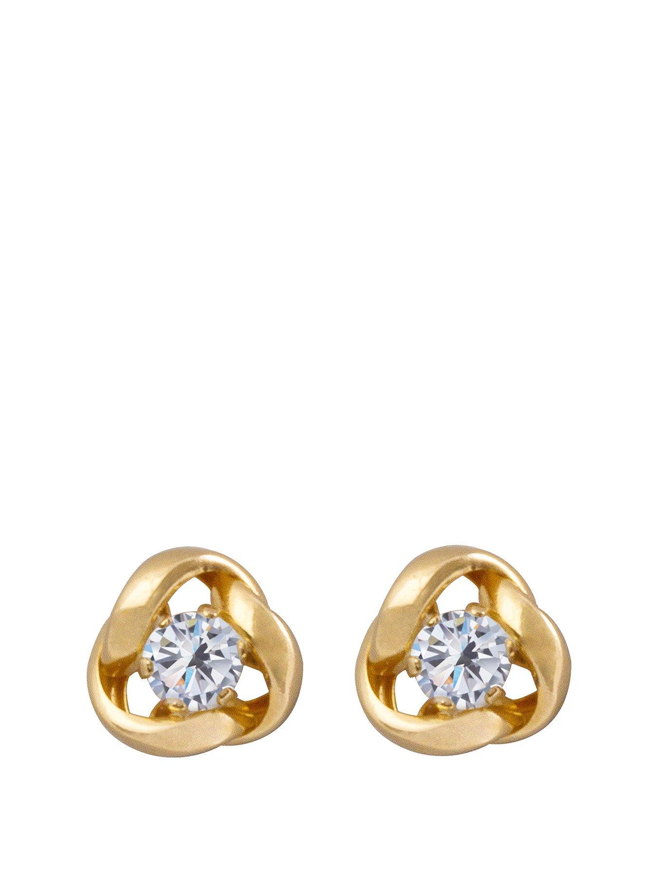 Giftbox 9ct yellow gold 7mm Tanzanite cubic zirconia CZ stud earrings Studs