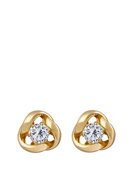 Love GOLD Love Gold 9Ct Gold 6.5Mm Three-Way Knot Studs With 3Mm Cubic  ... Picture