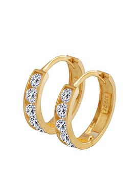 Love GOLD Love Gold 9Ct Gold Cubic Zirconia Huggie Hoop Earrings Picture