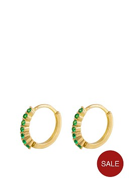 the-love-silver-collection-18ct-gold-plated-silver-emerald-cubic-zirconia-huggie-earrings
