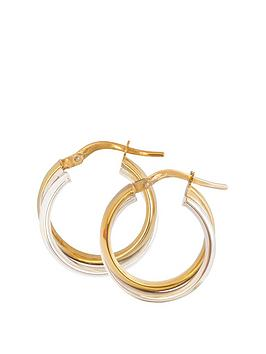Love GOLD Love Gold 9Ct Gold Two-Tone Round Oval-Shaped Creole Hoop  ... Picture