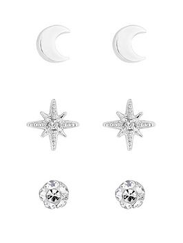 Simply Silver Simply Silver Simply Silver Moon And Star Three Pack Earrings Picture
