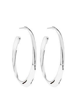 mood-silver-plated-polished-oval-hoop-earrings