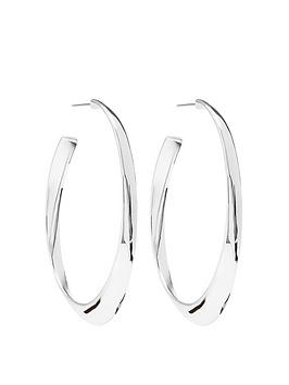 Mood Mood Silver Plated Polished Oval Hoop Earrings Picture