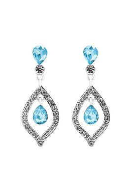Mood Mood Silver Plated Blue Crystal Tear Drop Earrings Picture