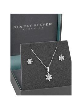 Simply Silver Simply Silver Simply Silver Cubic Zirconia Flower Jewellery  ... Picture