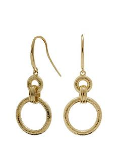 simply-silver-14ct-gold-plated-sterling-silver-textured-open-link-drop-earrings