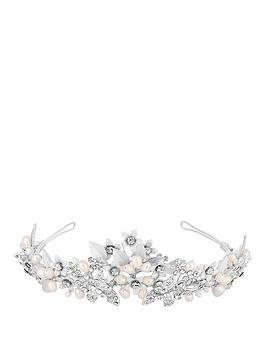 Jon Richard Jon Richard Jon Richard Silver Crystal And Pearl Tiara Picture