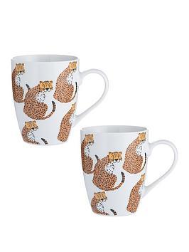 Price & Kensington Price & Kensington Set Of 2 Cheetah Mugs Picture