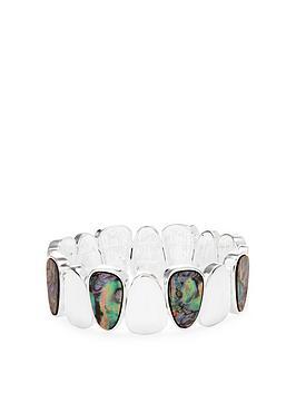 mood-silver-green-abalone-inlay-stretch-bracelet