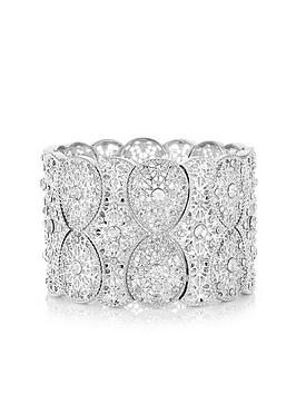 Mood Mood Mood Silver Plated Filigree Statement Stretch Bracelet Picture