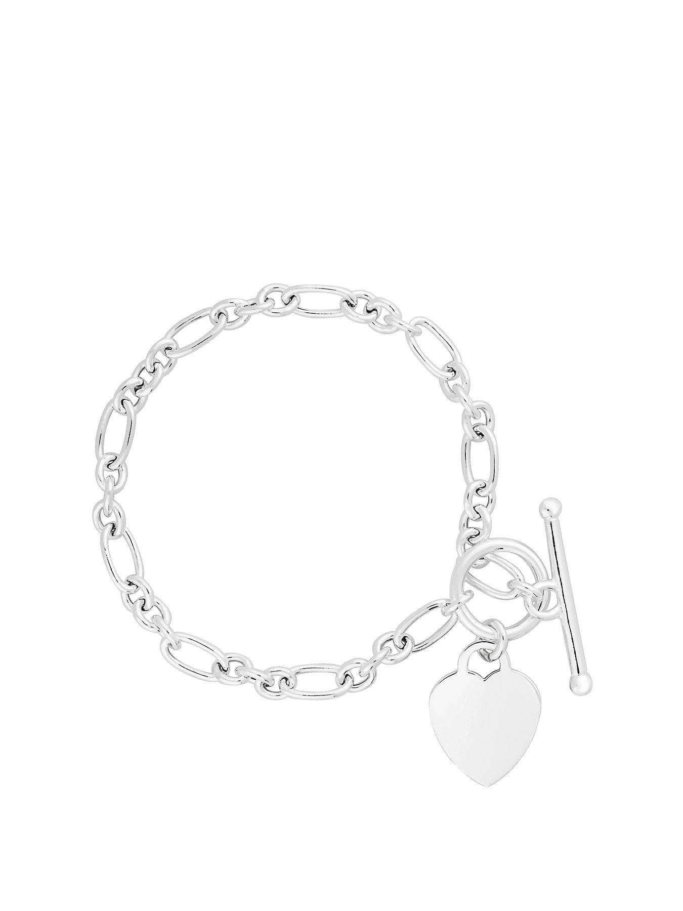 Silver Toned Baby or Child Engraved Pearl Inspired Bracelet