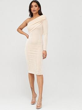 Boohoo Boohoo Boohoo Texture Slinky Off The Shoulder Midi Dress - Champagne Picture