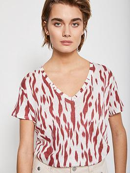 Mint Velvet Mint Velvet Pia Print Linen T-Shirt - Red Picture