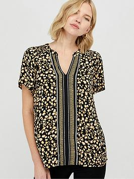 Monsoon Monsoon Camillia Print Sustainable Viscose Top - Black Picture