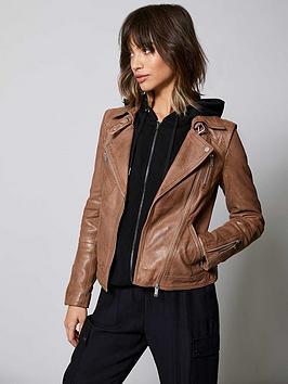 Mint Velvet Mint Velvet Zip Leather Biker Jacket - Tan Picture
