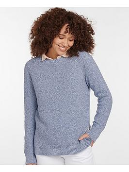 Barbour Barbour Barbour Shoreline Textured Knitted Jumper - Blue/ White Picture