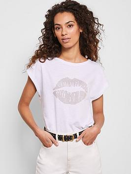 Mint Velvet Mint Velvet Stud Lips T-Shirt - White Picture
