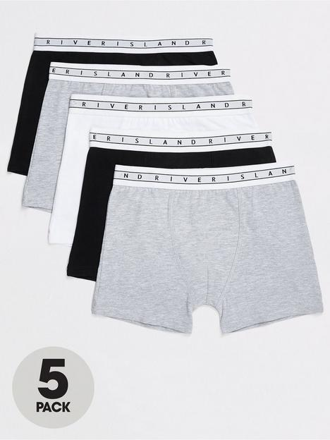 river-island-boys-5-pack-mono-waistband-boxers-greyblack