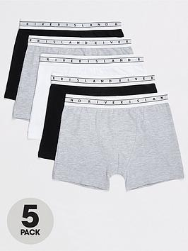 River Island River Island Boys 5 Pack Mono Waistband Boxers-Grey/Black Picture