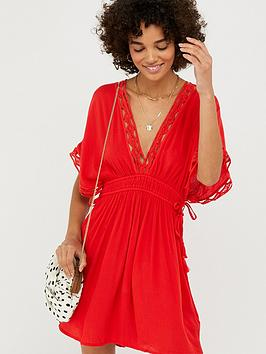Accessorize   Geo Lace Kaftan - Red