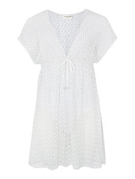Accessorize   Shimmer Lace Tabbard Dress - White