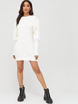 Boohoo Boohoo Boohoo Puff Sleeve Extreme Cuff Sweatshirt Dress - White Picture