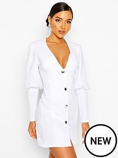 boohoo-puff-sleeve-plunge-button-front-blazer-white