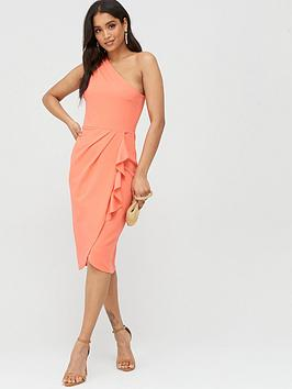 Boohoo Boohoo Boohoo One Shoulder Ruffle Detail Midi Dress - Coral Picture