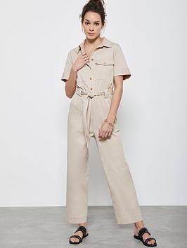 Mint Velvet Mint Velvet Button Through Short Sleeved Boilersuit - Camel Picture