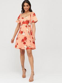 Boohoo Boohoo Square Neck Belted Floral Skater Dress - Coral