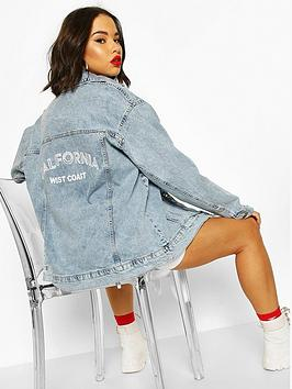 Boohoo   Festival Slogan Oversized Denim Jacket - Blue