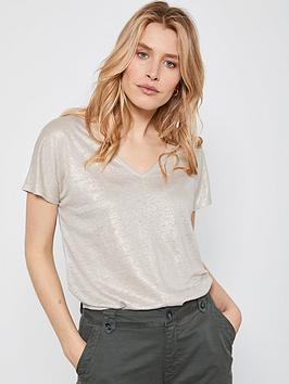 Mint Velvet Mint Velvet Shimmer Linen T-Shirt - Gold Picture