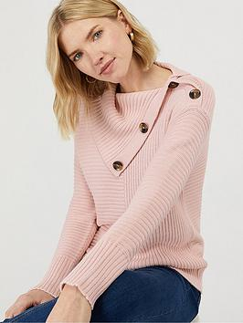 Monsoon Monsoon Suri Split Neck Jumper - Soft Pink Picture