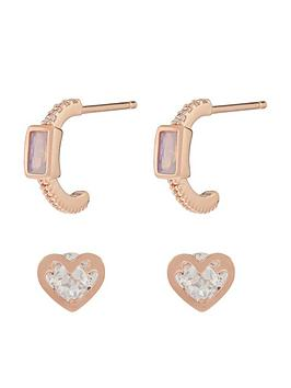Accessorize Accessorize Z X 2 Baguette Hoop And Heart Stud Set - Rose Gold Picture