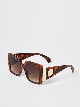 River Island  Square Frame Glam Sunglasses - Tortoiseshell