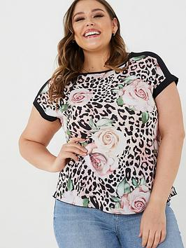 quiz-curve-animal-floral-short-sleeve-top-multi