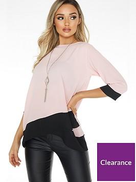quiz-bubble-crepe-cross-hem-top-pink