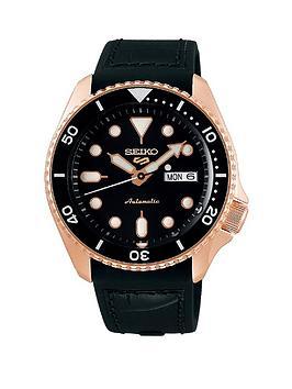 seiko-seiko-5-black-croc-leather-strap-rose-gold-black-dial-watch