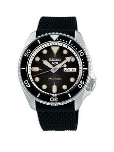 seiko-5-silicone-strap-black-dial-watch